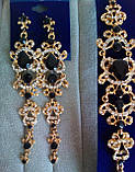 Комплект видовжені чорні вечірні сережки з червоними каменями і браслет, висота 12 див., фото 4