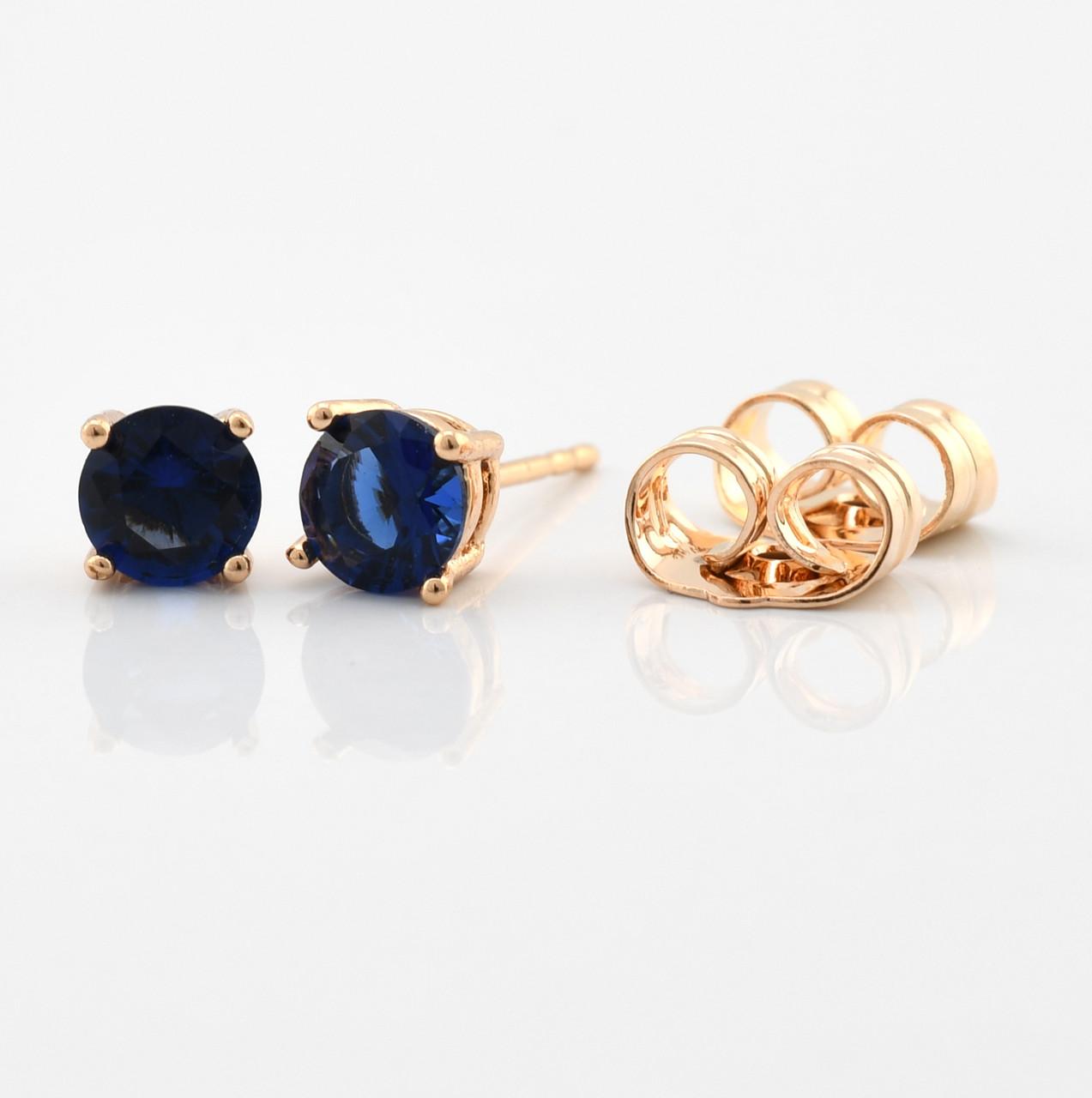 Серьги-гвоздики 21700-18К, размер 5*5 мм, синие фианиты, позолота 18К