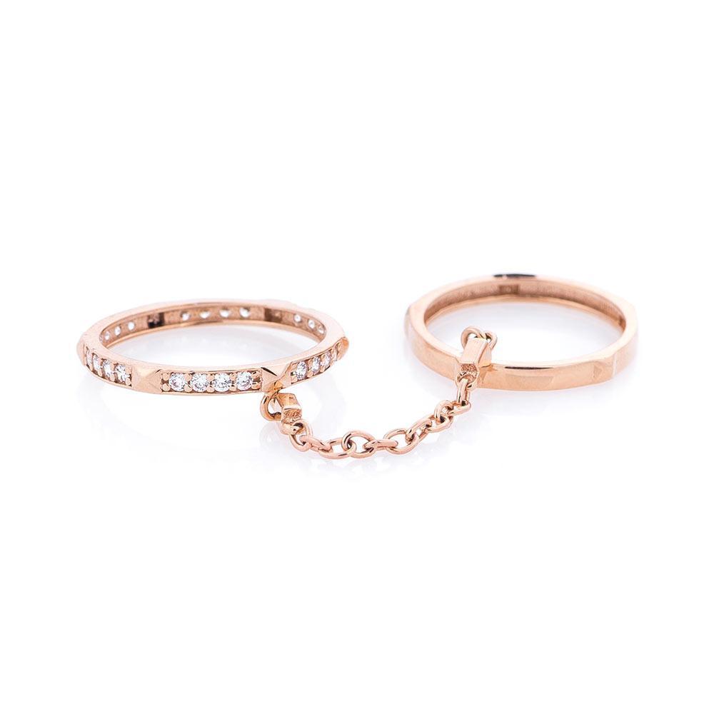Золотое двойное кольцо с фианитами гк05261