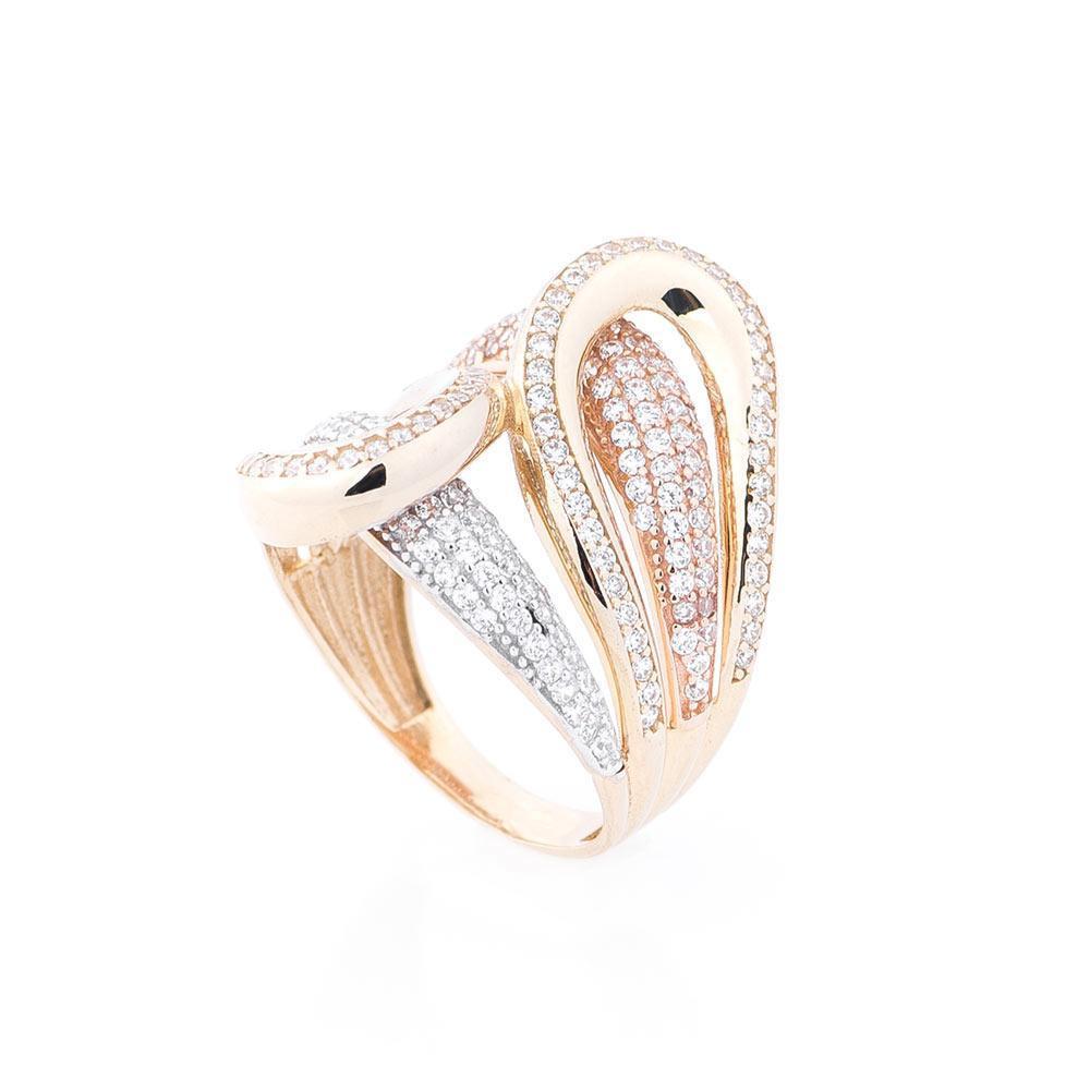 Золотое кольцо с фианитами гк04308