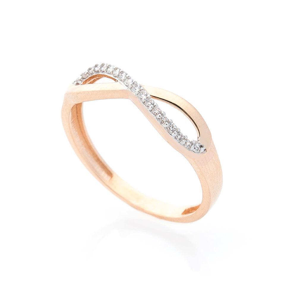 """Золотое кольцо """"Бесконечность"""" с фианитами гк03965"""