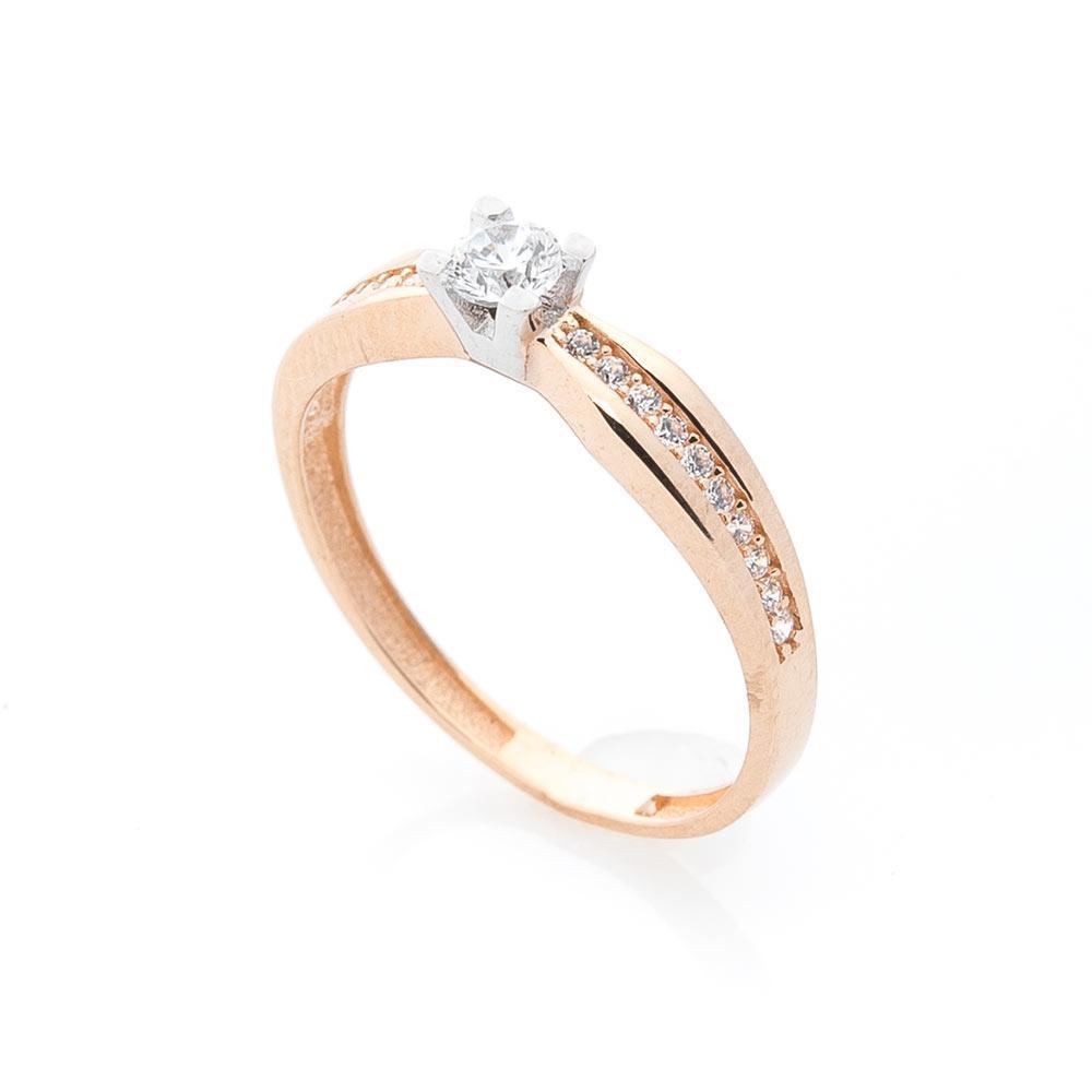 Помолвочное золотое кольцо с фианитами гк05554