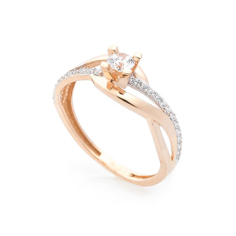 Помолвочное кольцо с фианитом золотое гк05581