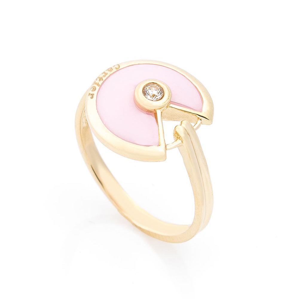 Золотое кольцо (керамика, фианит) гк05418