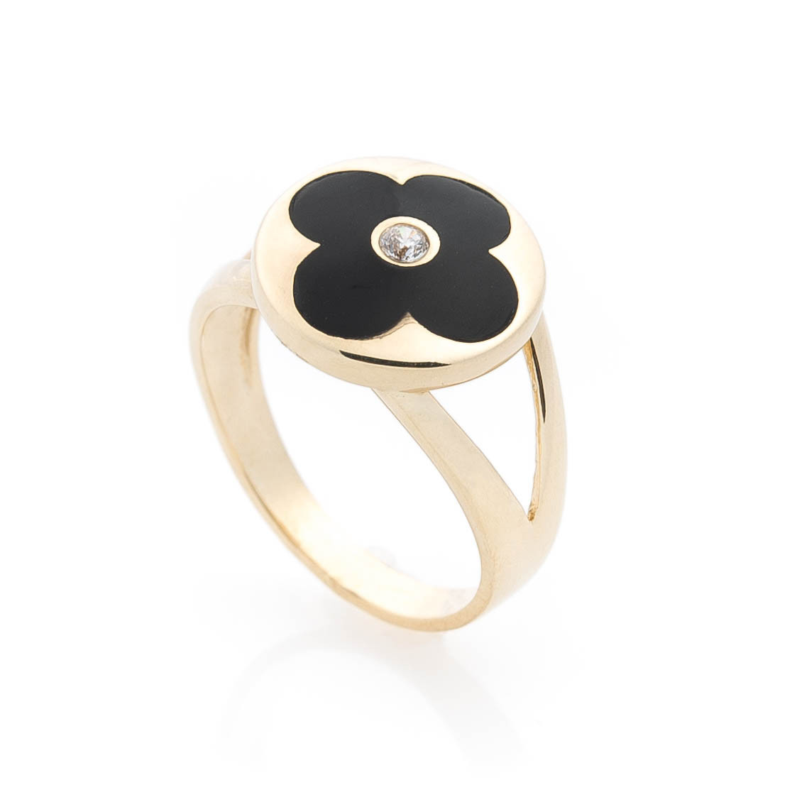 """Золотое кольцо """"Клевер"""" с фианитом и эмалью гк05596"""