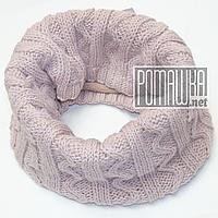 Детский вязаный снуд хомут шарф-труба для девочки на флисовой подкладке утеплённый 4479 Пудровый