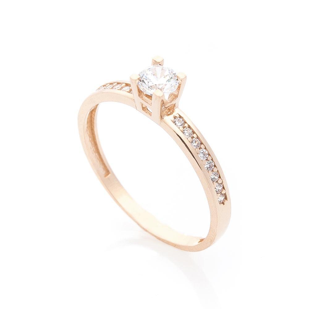 Золотое помолвочное кольцо с фианитами гк05847