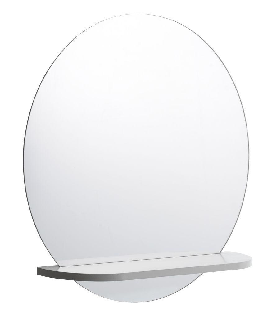 Большое настенное зеркало диаметр 50см с полкой белый