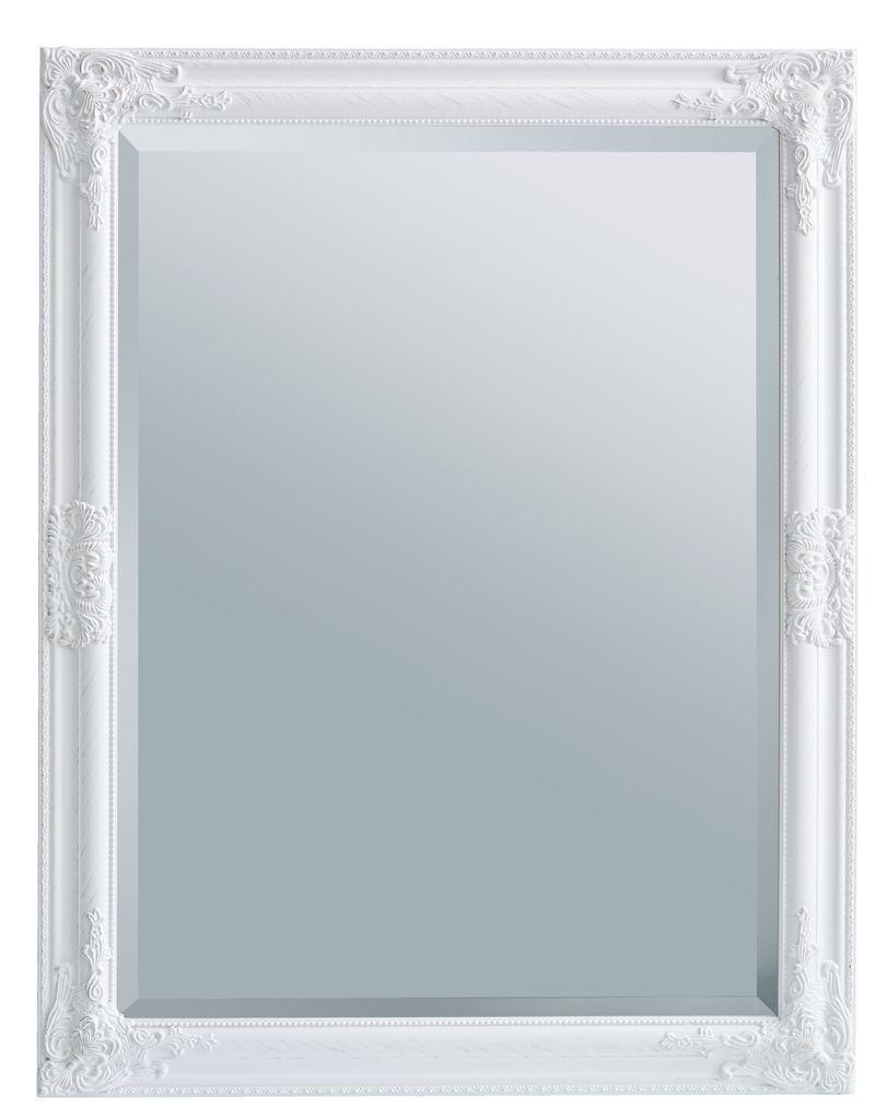 Большое настенное прямоугольное зеркало в деревянной рамке 70х90см белое