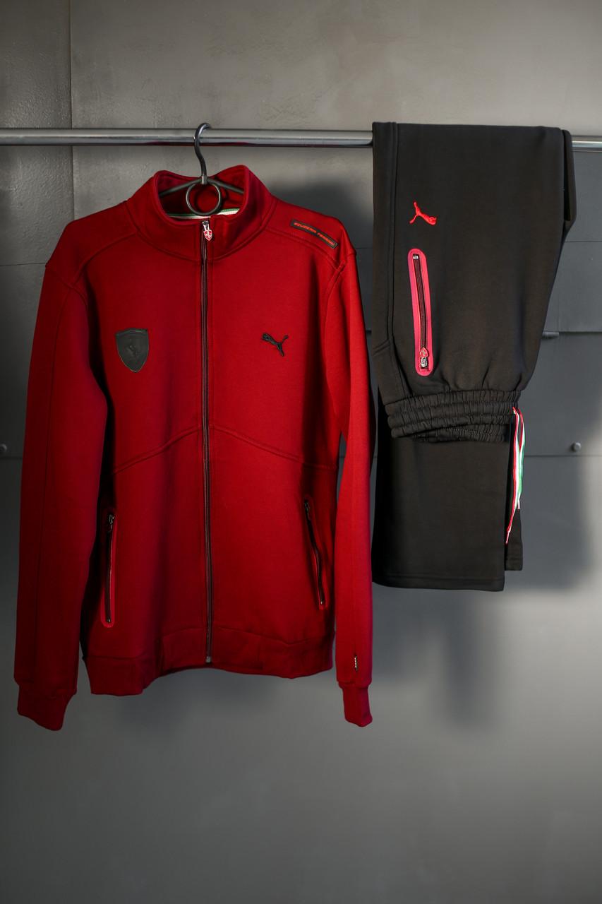 Мужской спортивный бордовый костюм Puma Ferrari (зима)