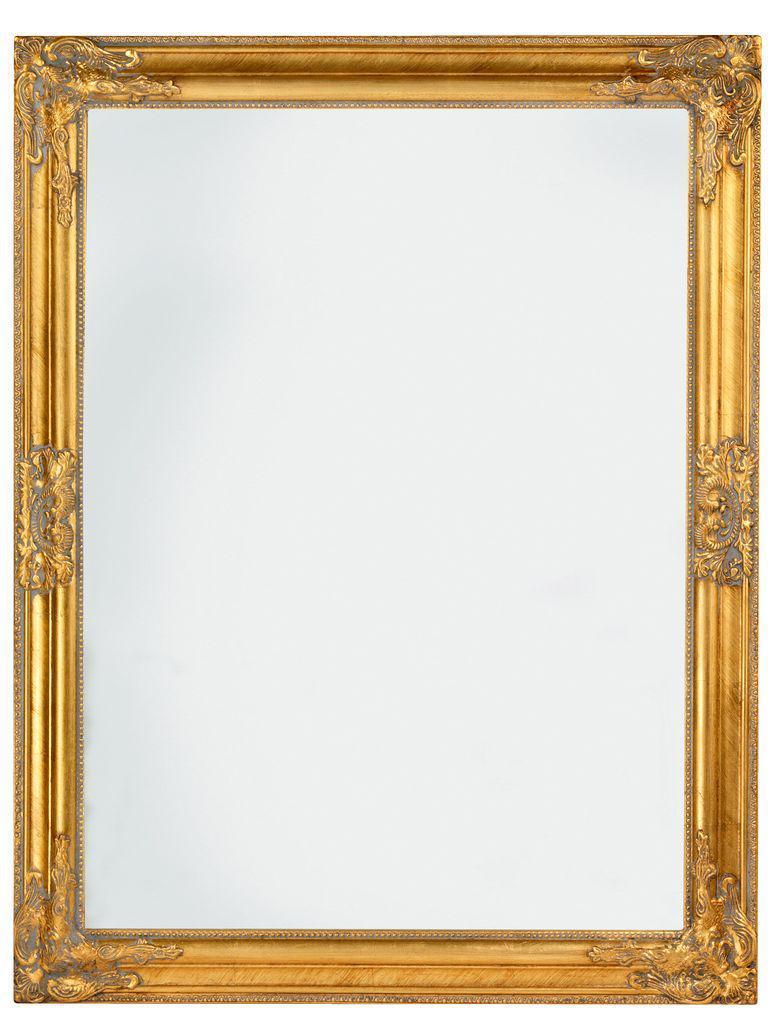 Большое настенное прямоугольное зеркало в деревянной рамке 70х90см золотое