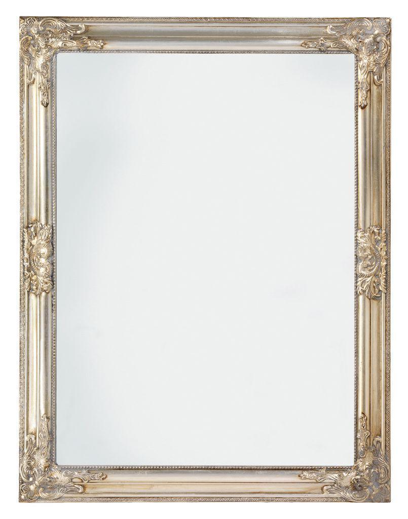 Большое настенное прямоугольное зеркало в деревянной рамке 70х90см серебро