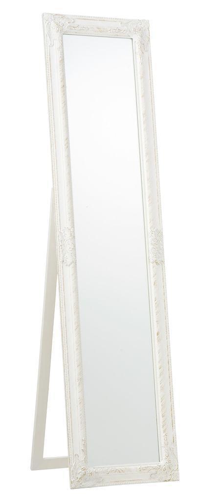 Большое напольное прямоугольное зеркало с ножкой 40х160см белое с золотом