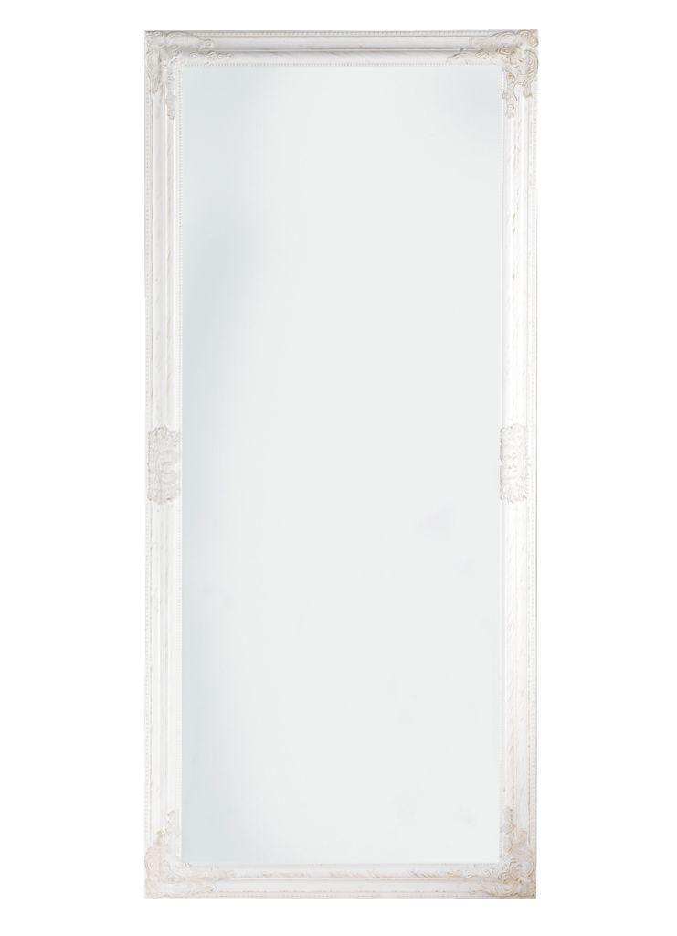 Большое настенное зеркало прямоугольное 72х162см белая рамка