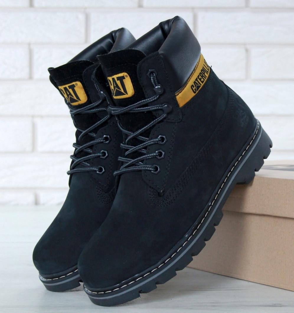 Зимові жіночі черевики Caterpillar з хутром black (cat). Живе фото. (Репліка ААА+)