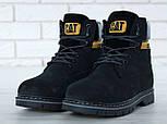Зимові жіночі черевики Caterpillar з хутром black (cat). Живе фото. (Репліка ААА+), фото 2