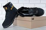 Зимові жіночі черевики Caterpillar з хутром black (cat). Живе фото. (Репліка ААА+), фото 5