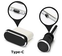 Комплект заглушек в разъем для наушников 3,5 мм и Type С, MacBook. Black (черный)