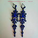 Вечірні чорні сережки з синіми каменями, висота 12 див., фото 2
