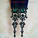 Вечірні чорні сережки з синіми каменями, висота 12 див., фото 3