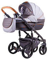 Детская коляска 2 в 1 Adamex Prince X-4 светло-серый лен - графитовая кожа (выдавленная строчка)