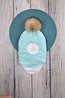 Шапка- шлем с бубоном из чернобурки, мята