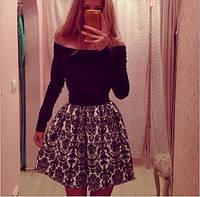 Женское платье новинка 2015, черно белое с длинным рукавом, фото 1