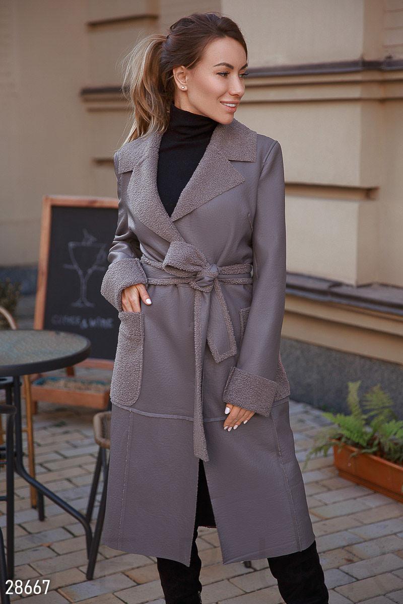 Длинное дубленое пальто-3 цвета S M L