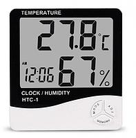 Часы термометр гигрометр будильник LCD HTC-1