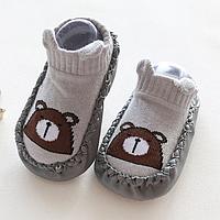 Носочки-тапочки для дома Серые с мишкой