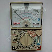 Мультиметр аналоговый SUNWA KS-380 (1000В, DC10A, 20МОм, hFE, тест батарей, звуковая прозвонка)
