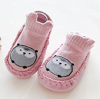Носочки-тапочки для дома Розовые с совушкой