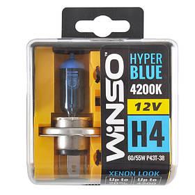 Галогенная лампа WINSO  12V H4 HYPER BLUE 4200K 60/55W P43t-38 SET 712450