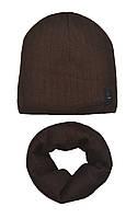 Комплект шапка і снуд для хлопчика коричневий