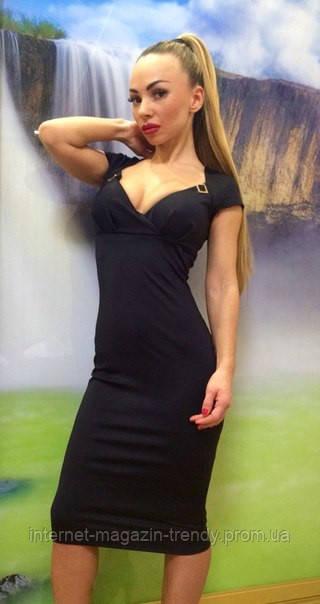 Платье миди облегающее с коротким рукавом  (в расцветках) 523