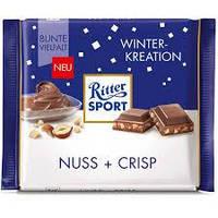 Шоколад молочный с фундуком и криспами Ritter Sport Nuss+Crisp 100гр (Германия)