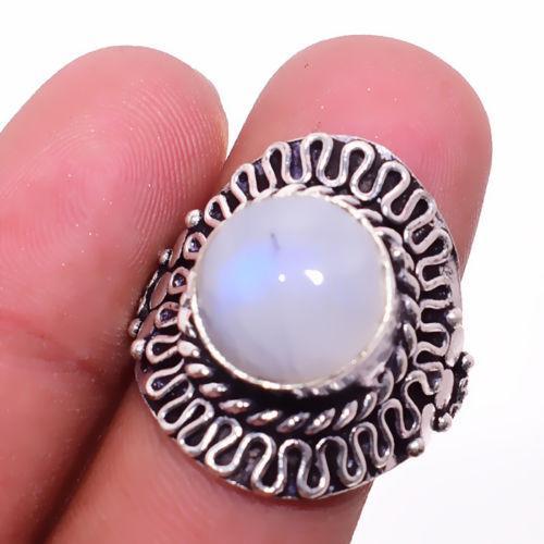 Лунный камень кольцо с натуральным лунным камнем в серебре 19.5-19.7 размер Индия