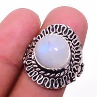 Лунный камень кольцо с натуральным лунным камнем в серебре 19.5-19.7 размер Индия, фото 1
