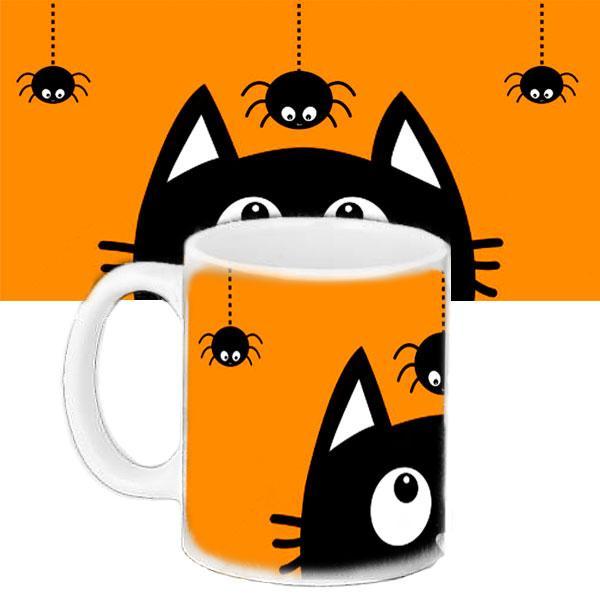 Кружка в подарок с принтом Halloween Коту страшно