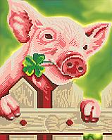 Схема для вышивки бисером Свинка на счастье