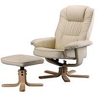 Кресло TV для отдыха с массажем (бєж) + пуф