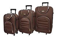 Набір дорожніх валіз на колесах Siker Lux набір 3 штуки Коричневий, фото 1