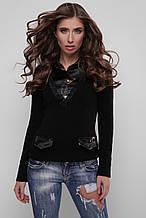 Джемпер-рубашка Диана 105 черный-черный (цветы) (44-48)