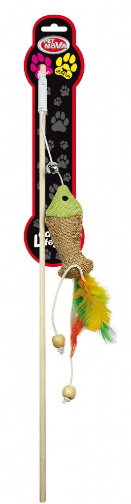 Игрушка для кошек Удочка с рыбкой и перьями Pet Nova 40 см Разноцветная