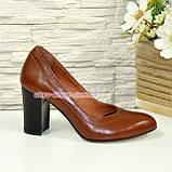 Кожаные женские туфли рыжего цвета на устойчивом высоком каблуке. , фото 4