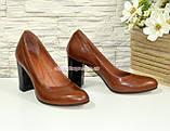 Кожаные женские туфли рыжего цвета на устойчивом высоком каблуке. , фото 3