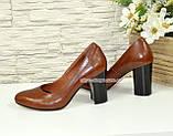 Кожаные женские туфли рыжего цвета на устойчивом высоком каблуке. , фото 2