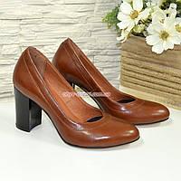 Кожаные женские туфли рыжего цвета на устойчивом высоком каблуке. , фото 1