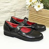 Туфли школьные черные для девочки, натуральная кожа и замша., фото 1