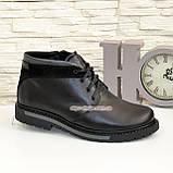 Ботинки кожаные мужские на шнуровке, декорированы вставкой из черной замши, фото 2